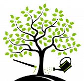 pic of hoe  - vector tree with hoe and watering can isolated on white background - JPG