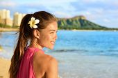 picture of waikiki  - Hawaiian beach woman on Waikiki  - JPG