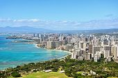 picture of waikiki  - Honolulu and Waikiki beach on Oahu Hawaii - JPG