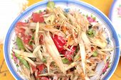 pic of green papaya salad  - Papaya salad on the dish  - JPG