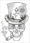 picture of day dead skull  - day of the dead baron samedi drawing vector - JPG
