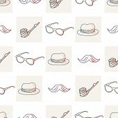 stock photo of tobacco-pipe  - Hipster vector seamless pattern with ties and glasses - JPG