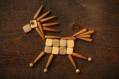 picture of galloping horse  - Beautiful creative design of galloping horse from the wooden parts in the children - JPG