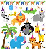 stock photo of zoo  - Vector Collection of Birthday Party Themed Jungle - JPG