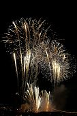 foto of bonnes  - golden firework on the rhine in cologne germany - JPG