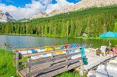 image of south tyrol  - Colored pedalos on the Lake Misurina  - JPG