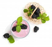 picture of blackberries  - Top view of blackberry smoothie with berries in a basket isolated on white background - JPG