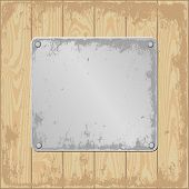 stock photo of plaque  - grunge wooden background with plaque   - JPG
