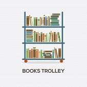 pic of trolley  - Flat Design Books Trolley On White Background Vector Illustration - JPG