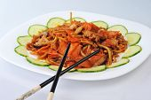 picture of chinese parsley  - delicious chinese food on plate close up - JPG