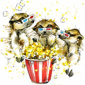 picture of popcorn  - Funny meerkats wearing 3d movie glasses eating popcorn with watercolor splash textured background - JPG