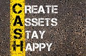 stock photo of asset  - Concept image of Business Acronym CASH as CREATE ASSETS STAY HAPPY written over road marking yellow paint line - JPG