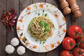 picture of zucchini  - Italian zucchini pasta with basil and parmesan cheese - JPG