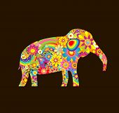 stock photo of applique  - Applique with decorative elephant with colorful flowers print - JPG