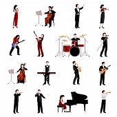 stock photo of clarinet  - Musicians flat icons set with pianist clarinet trumpet guitar players isolated vector illustration - JPG