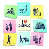 pic of grocery cart  - Sticker note style supermarket cards with cashier shopping cart counter delivery man grocery and happy family vector illustration - JPG