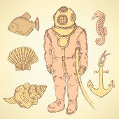 stock photo of creatures  - Sketch vintage diving suit and sea creatures vector - JPG
