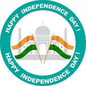 stock photo of indian independence day  - illustration of wavy Indian flags with monument - JPG