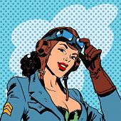 picture of army  - Pin up girl pilot aviation army beauty pop art retro comic vintage - JPG