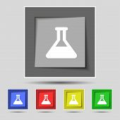 picture of conic  - Conical Flask icon sign on the original five colored buttons - JPG