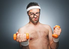 picture of nacked  - Funny man exercising and doing fitness - JPG