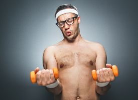 pic of nacked  - Funny man exercising and doing fitness - JPG