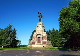 picture of lenin  - Old historical architecture in Kostroma city monument Lenin in Russian province - JPG