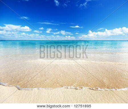 Постер, плакат: песок пляжа Карибского моря, холст на подрамнике