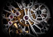 Mechanism, clockwork of a watch with jewels, close-up. Vintage luxury background. Time, work concept poster