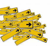 foto of road sign  - an illustration of yellow blank arrow road signs - JPG
