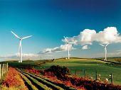 foto of wind-turbine  - wind turbines on a farm - JPG