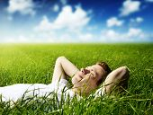 picture of young men  - young man in spring grass - JPG