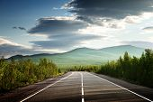 picture of blue sky  - road in Russian mountains - JPG