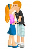 stock photo of pre-teen girl  - First Kiss  - JPG