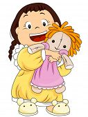 Child hugging her rag doll - Vector