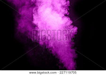 Purple Color Powder Explosion On Black Background Mauve Cloud Dust Splash