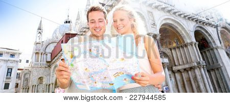 poster of Travel banner, couple reading map in Venice, Italy on Piazza San Marco by Saint Mark's Basilica. Hap