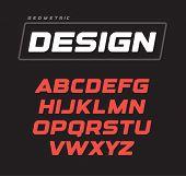 Italic Bold Geometric Alphabet Design. Sport Game Vector Font Template poster