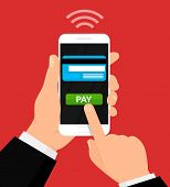 Wireless Payment Illustration. Money Transaction, Mobile Banking And Mobile Payments. Vector Illustr poster