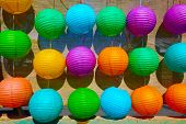 Colorful Paper Lanterns at a Lunar New Year Celebration. Lunar New Year of the Dog 2018.  poster