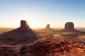 Sunrise At Monument Valley , Arizona Landscape At Sunrise, Usa poster
