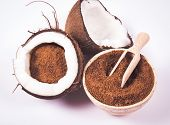 Coconut With Coconut Sugar Isolated On White Background. poster