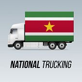 Symbol Of National Delivery Truck With Flag Of Suriname. National Trucking Icon And Surinamese Flag poster