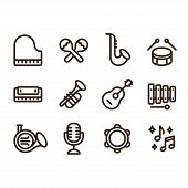 Jazz Music Instruments Icons Set. Modern And Simple Musical Line Icons, Vector Illustration Collecti poster