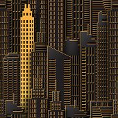 Achitectural Building In Panoramic View. Modern City Skyline Building Industrial Paper Art Landscape poster