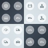 Automobile Icons Line Style Set With Truck, Automobile, Prime-mover And Other Sedan Elements. Isolat poster