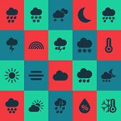 Climate Icons Set With Night, Humidity, Heavy Rain And Other Moisture Elements. Isolated Vector Illu poster