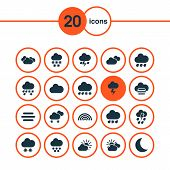 Weather Icons Set With Drizzle, Cloud, Rain And Other Gray Elements. Isolated Vector Illustration We poster