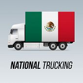 Symbol Of National Delivery Truck With Flag Of Mexico. National Trucking Icon And Mexican Flag poster
