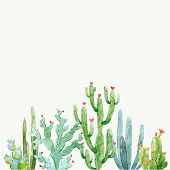 Beautiful Vector Composition With Hand Drawn Watercolor Cactuses poster